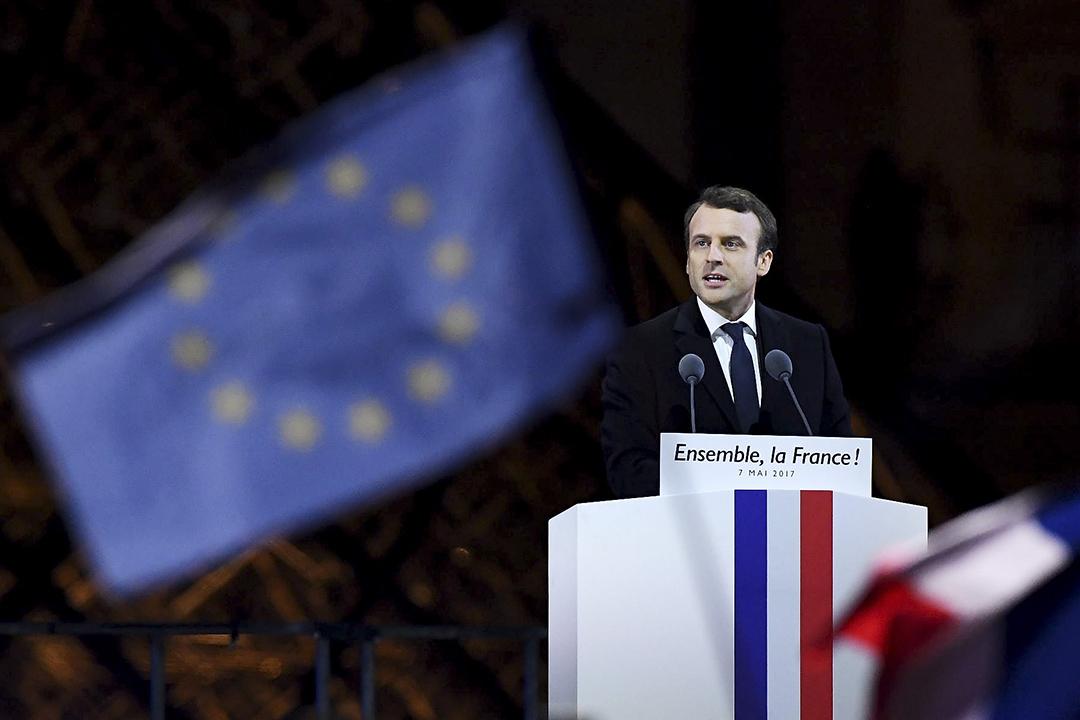 2017年5月7日,法國總統候選人馬克龍在勝出法國總統選舉後,向支持者發表講話。