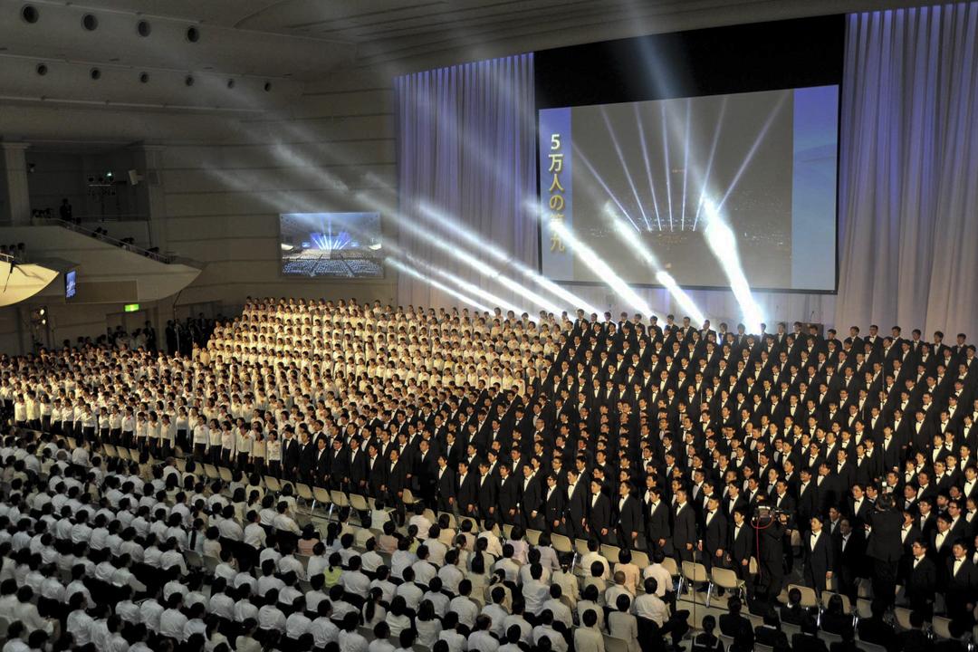 超過五萬名會員出席的其中一場創價學會活動。