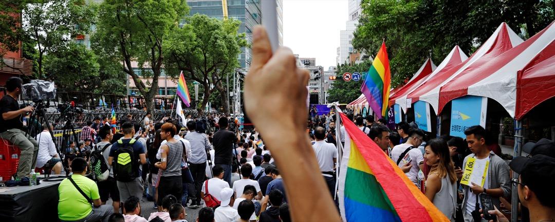 2017年5月24日,同性婚姻的支持者在台北市內舉行集會。