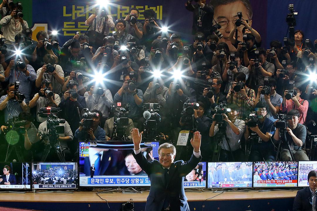 2017年5月9日,韓國共同民主黨總統候選人文在寅最終以41.09%的得票率當選成為韓國第19任總統。