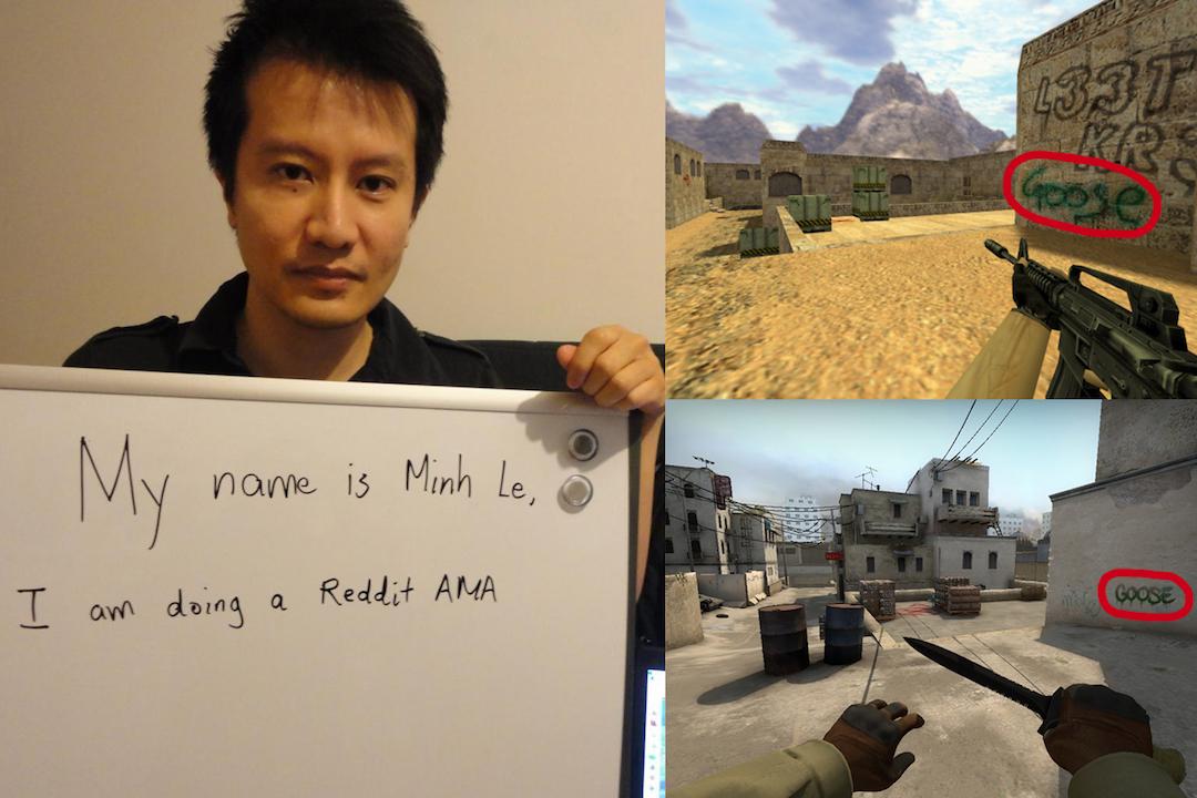 Minh Le 在 Reddit 問答上,遊戲截圖可見他的外號「鵝」畫在牆角處。