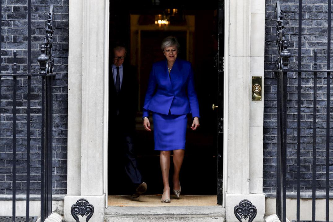 英國首相文翠珊所領導的保守黨並未能在國會取得過半數議席,需與其他政黨合組聯合政府執政。 攝:Stefan Wermuth/Reuters