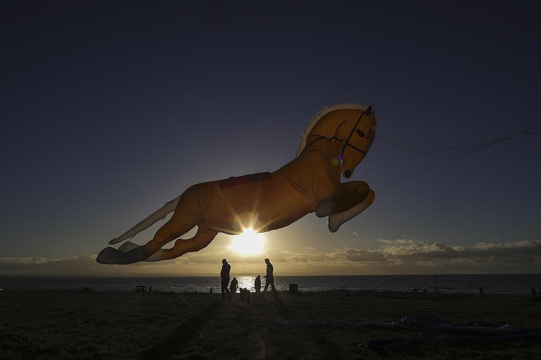 夕陽下,遊人在沙灘上放著馬型的風箏,就像一匹馬在空中飄揚。 攝:Christopher Furlong/Getty Images