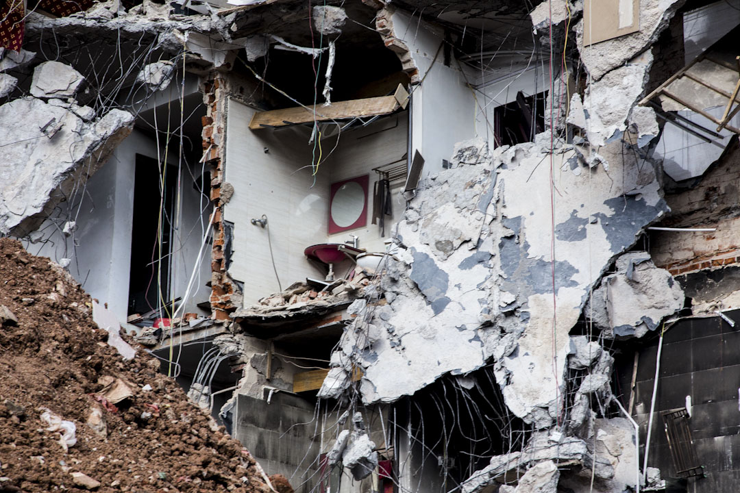 2017年,36戰事兩個月後,果敢自治區老街上仍可見到戰爭的痕跡。