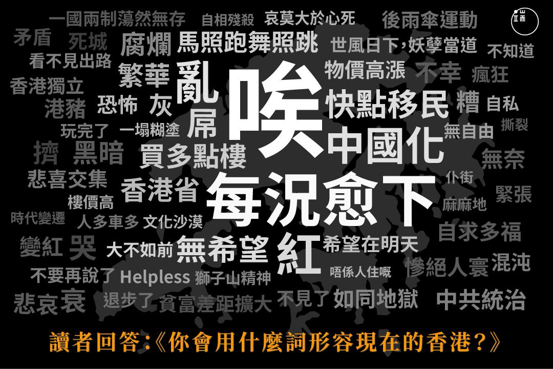 端傳媒根據製作的《在1997年香港生活一天,你會被揭穿是未來人嗎?》小測驗,收集了讀者形容香港的詞語,按照詞語出現的頻次,製作了這張圖。
