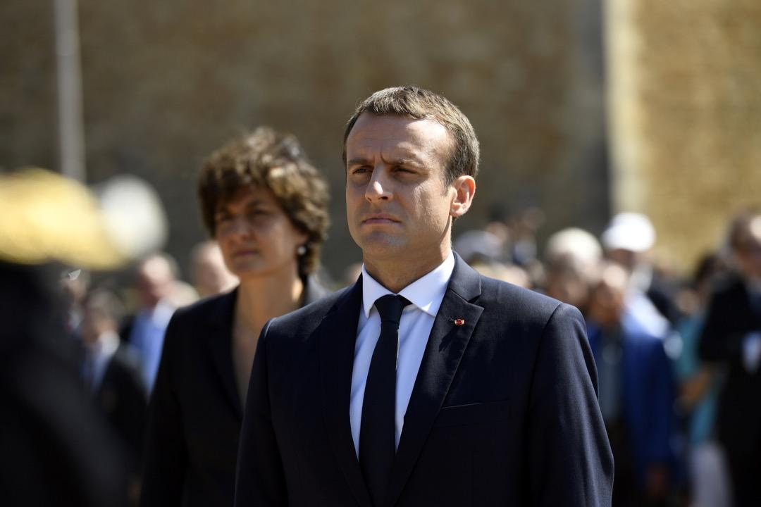 6月18日,法國總統馬克龍出席紀念戴高樂將軍反抗納粹77週年的儀式。 攝:Bertrand Guay/Reuters