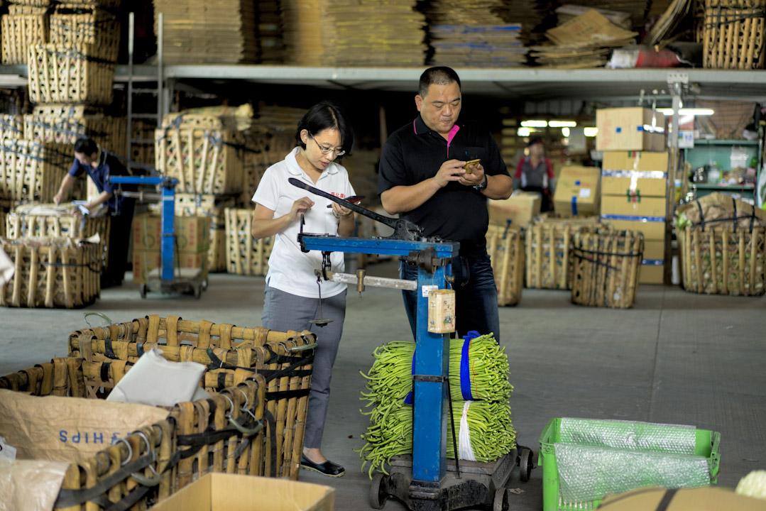 北農新任總經理吳音寧在彰化永靖市場。