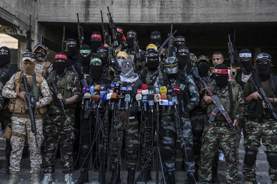 2017年7月18日,多個武裝組織代表在加沙市召開記者會,譴責以色列對阿克薩清真寺的侵害。