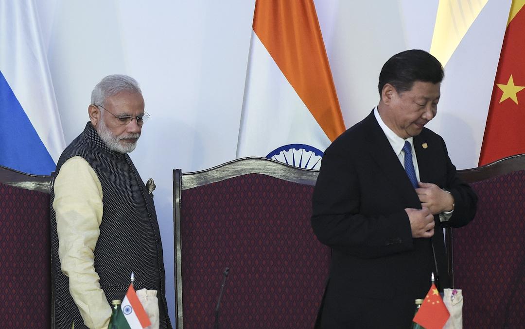 2016年10月16日, 中國國家主席習近平和印度總理莫迪出席金磚四國首腦會議。