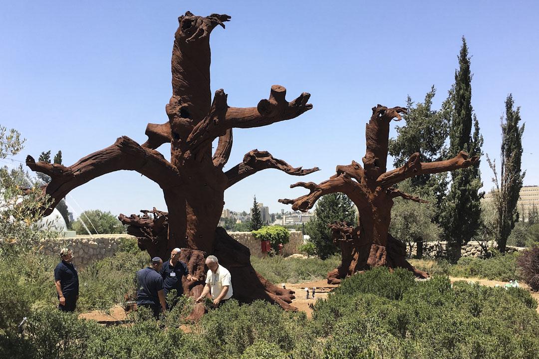艾未未在以色列博物馆展出作品《铁树》。