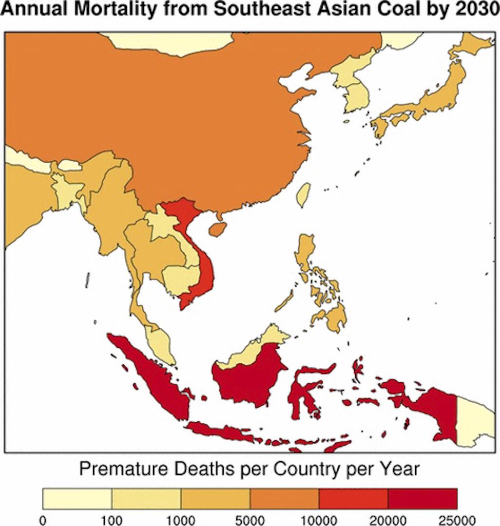 綠色和平曾在2017年1月發佈了問題意識相當類似的地圖,以「東亞(含東北亞)」為範疇,探討區域內的燃煤電廠數量與致死率。