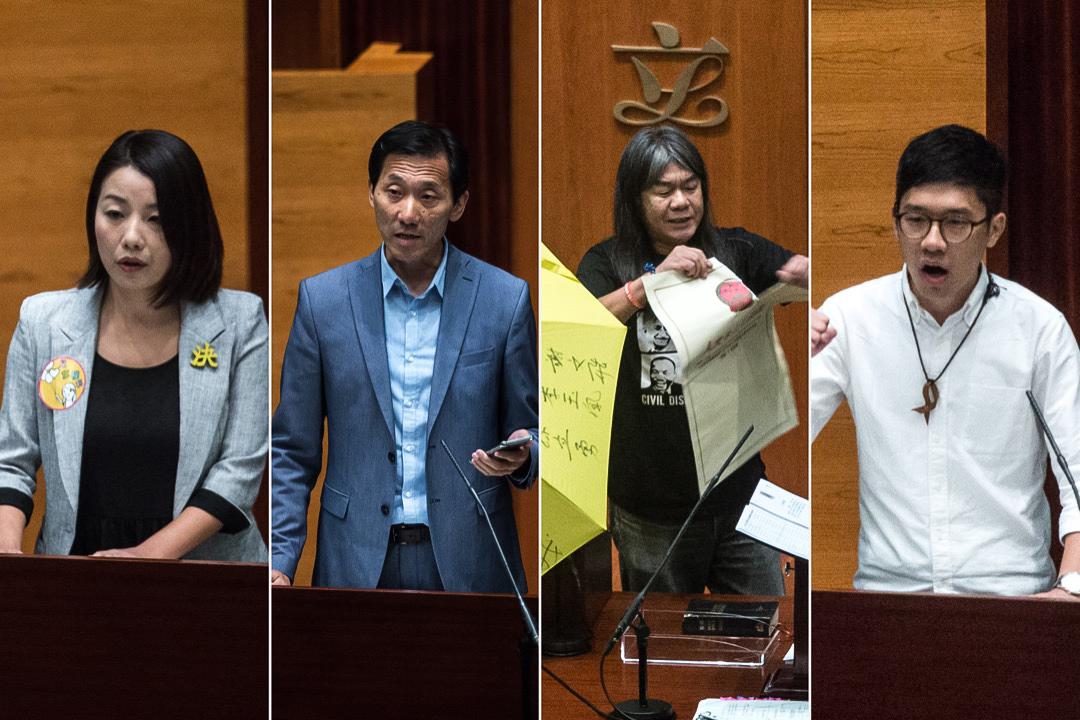 2017年7月14日,高等法院頒布裁決,裁定姚松炎、羅冠聰、梁國雄及劉小麗均喪失立法會議員資格。圖為四位議員於2016年10月12日宣誓就任議員時的情況。