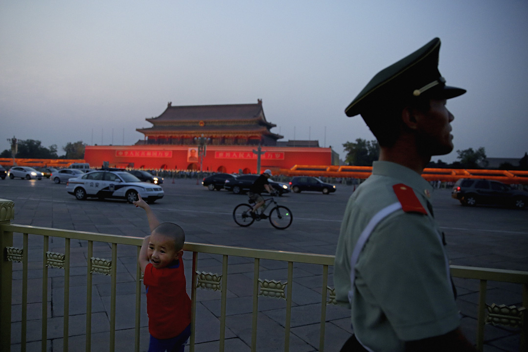 夕陽下的北京天安門。 攝:Feng Li/Getty Images