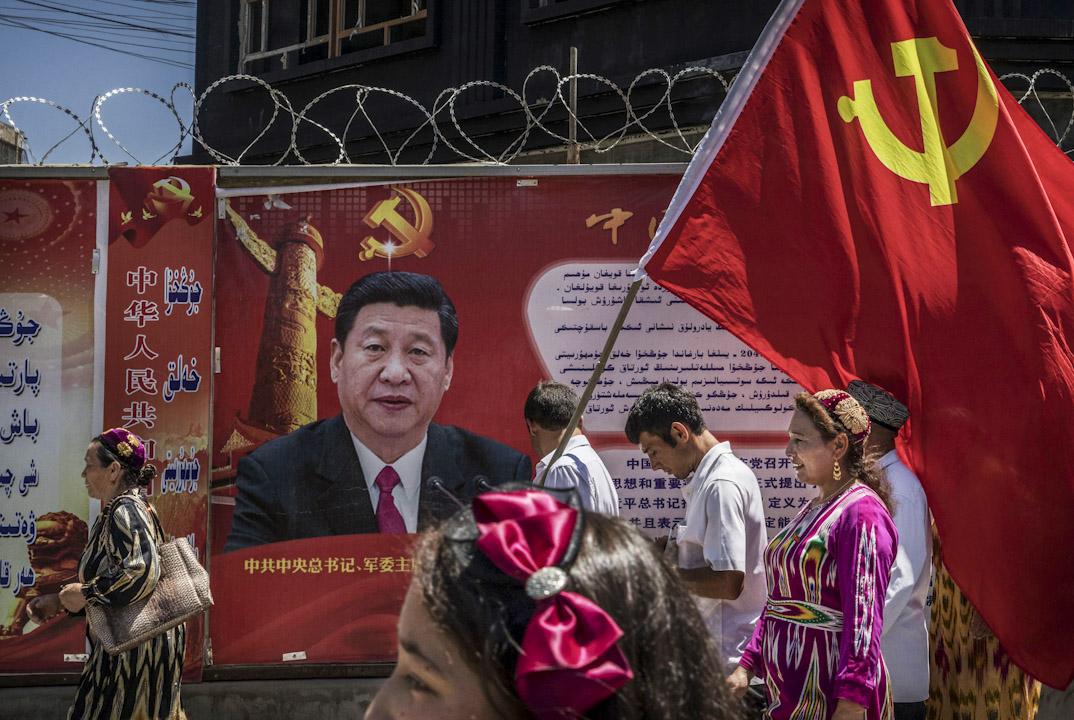 在中國新疆西部的喀什噶爾老城,有國家領導人習近平的肖像在市內的圍牆上。