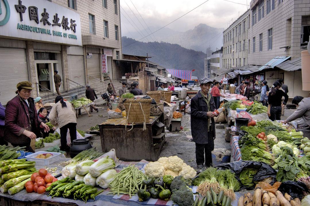 雲南其中一個與緬甸接壤的縣,片馬,市內一個蔬菜市場。