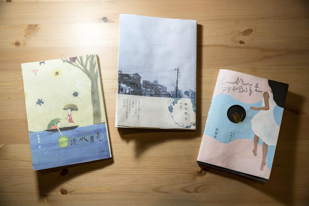 陸穎魚所著的三本詩集,包括《淡水月亮》、《晚安晚安》、《抓住那個渾蛋》。