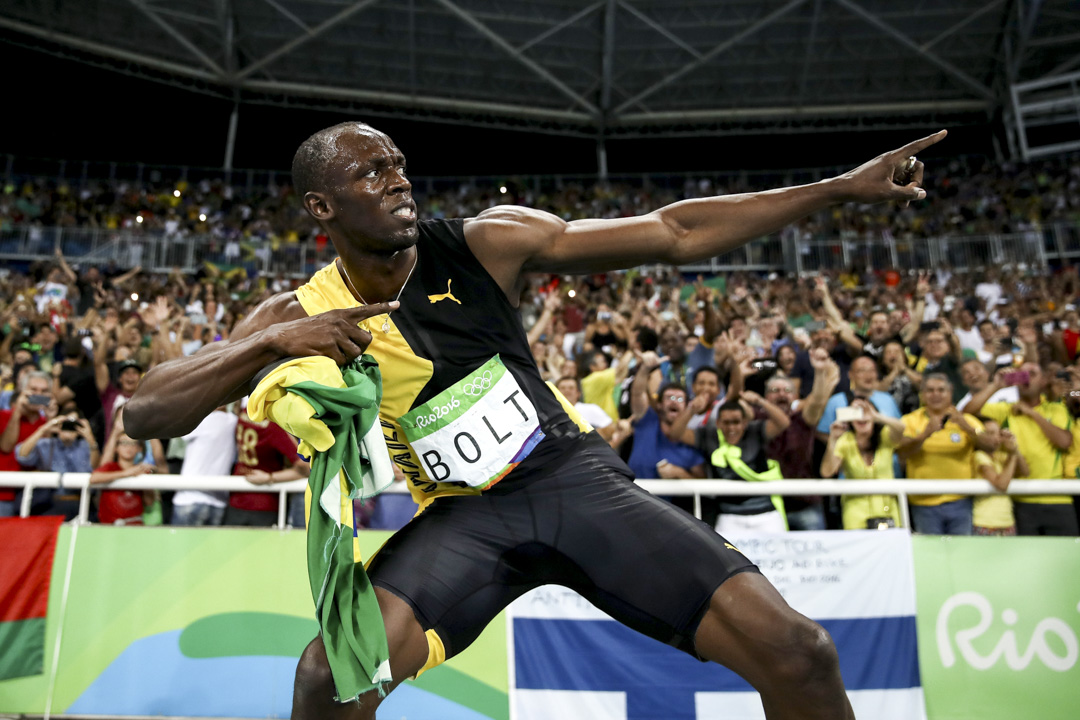 2016年8月19日,巴西里約熱內盧奧運會,保特在勝出男子4x100接力賽後擺出招牌動作慶祝。