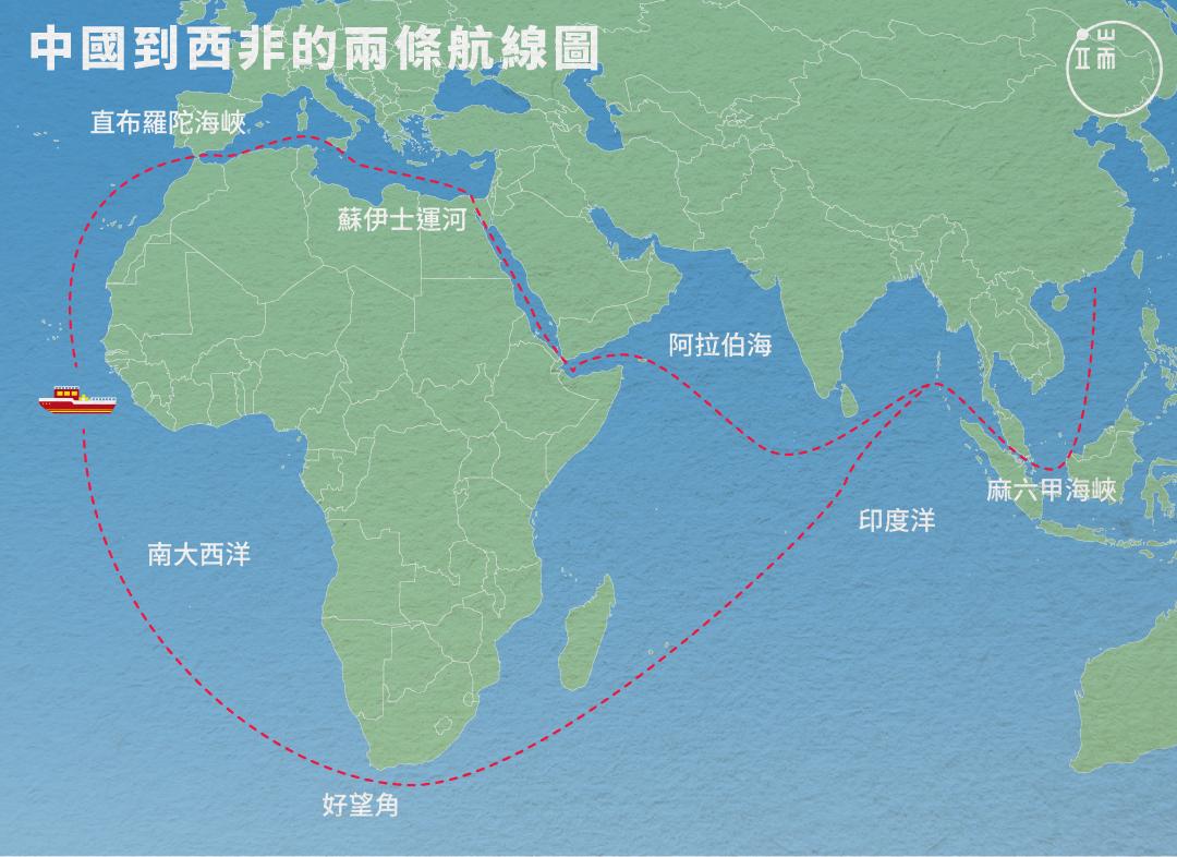 從中國到西非,可以選擇兩條航道。對於隨著公司來到此地的中國船長、漁工而言,離家無非是為了討生活,但中國漁船數量在三十年內暴增了35.6倍,卻讓當地居民很「有感」