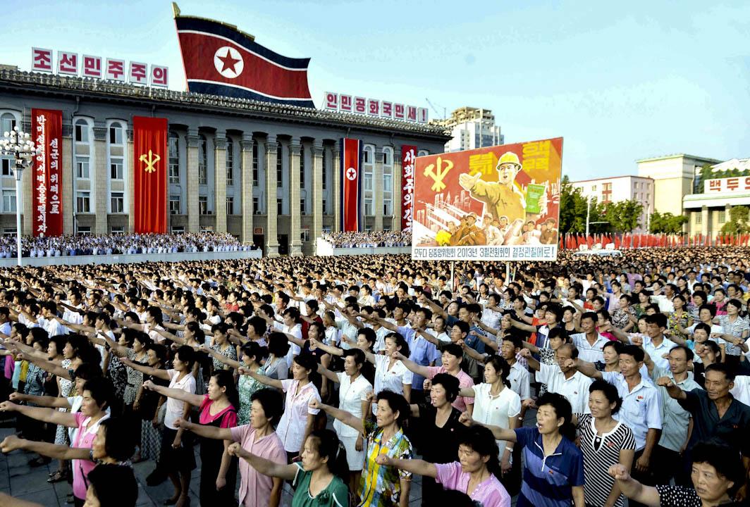 2017年8月9日,北韓動員群眾於金日成廣場進行集會,以支持政府對抗外敵的決心。