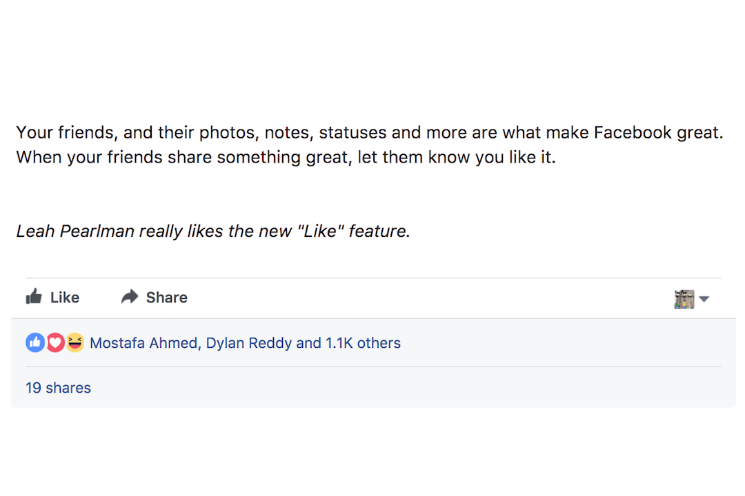2009年2月9日,Facebook 按讚功能正式上線時,Leah Pearlman 專門寫下自己為按讚功能按讚。
