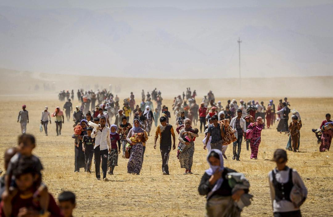 2014年8月9日,因遭到 ISIS 在北伊拉克的辛賈爾(Sinjar)地區發動攻擊,數千亞茲迪(Yazidi)人逃離該地。