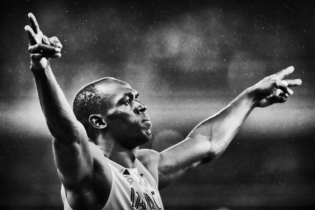 2016年8月18日,巴西里約熱內盧奧運會,保特在男子200米決賽前準備。