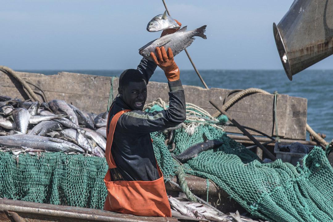 一位非洲裔的捕魚工人在中國投資的漁船上工作。