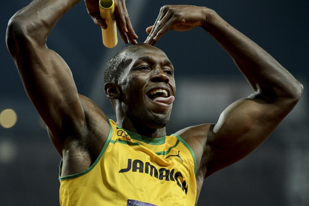2012年8月11日,英國倫敦奧運會,保特在勝出男子4x100接力賽後慶祝。