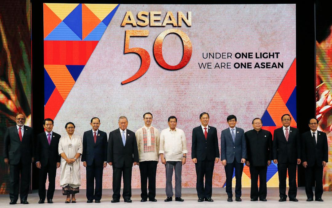 2017年8月8日,東盟在菲律賓首都馬尼拉舉行成立50周年慶典。 攝:Bullit Marquez / AP