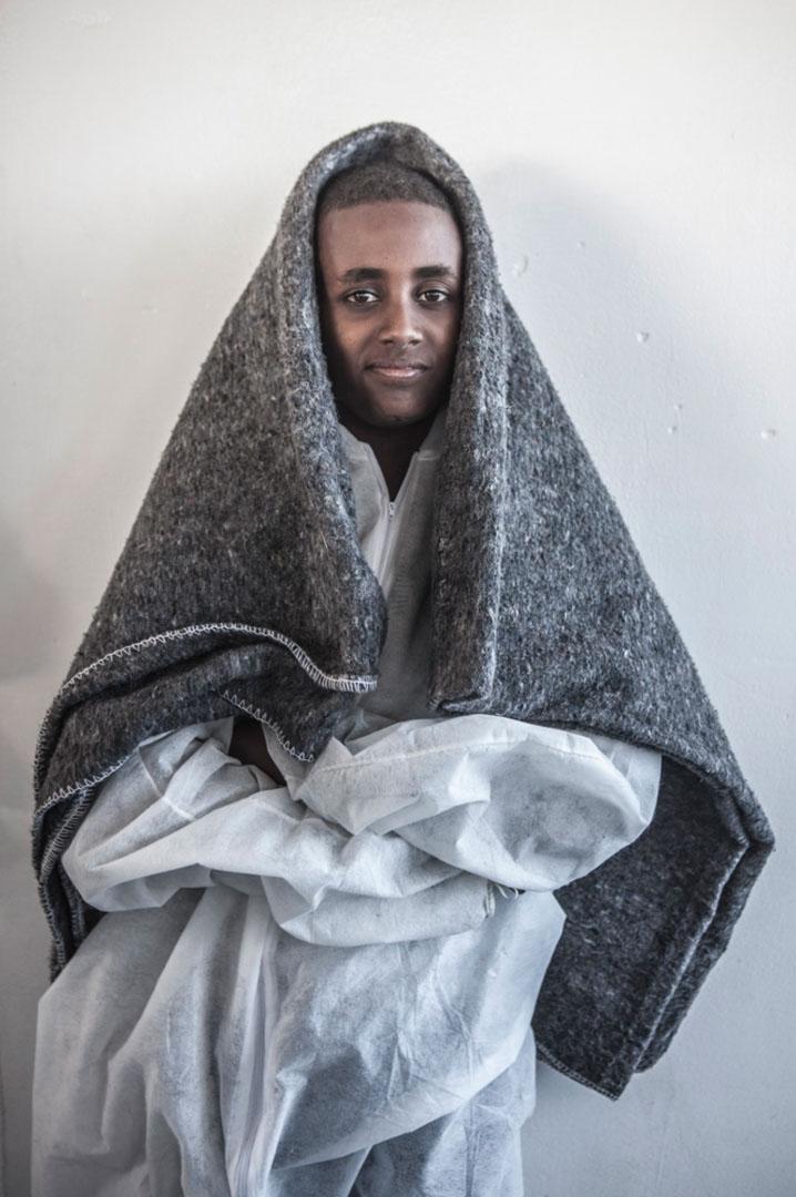 來自厄立特里亞 (Eritrea) 13歲的 Megs Gebrihiwet 從一艘載有369人的木船被救起。