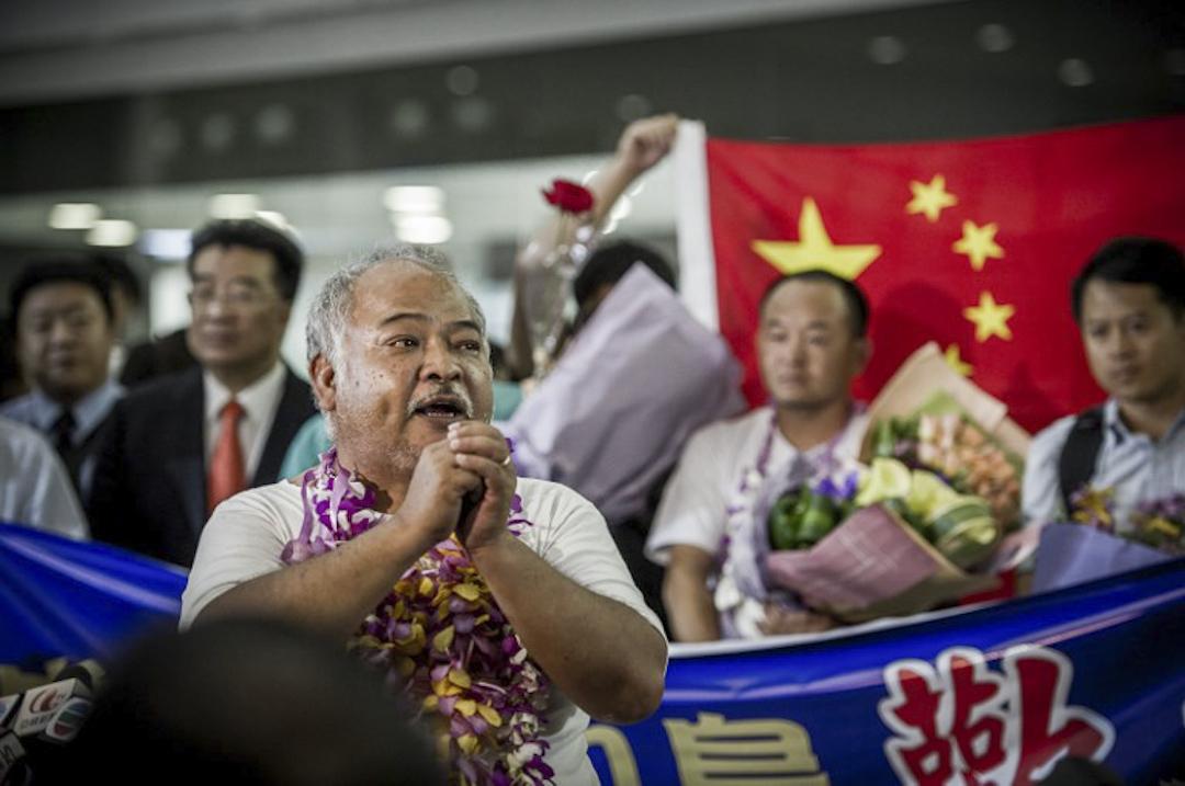 曾健成與香港保釣行動委員會人士一同登上釣魚台後,被日本政府強制遣返,於2012年8月17日返抵香港國際機場。