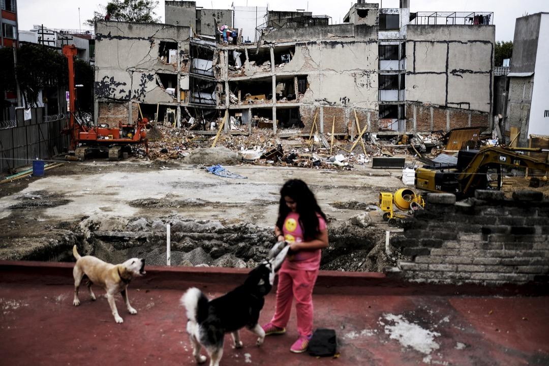 2017年9月28日,墨西哥首都墨西哥城,一名女孩在被地震震破的建築物前與小狗玩耍。