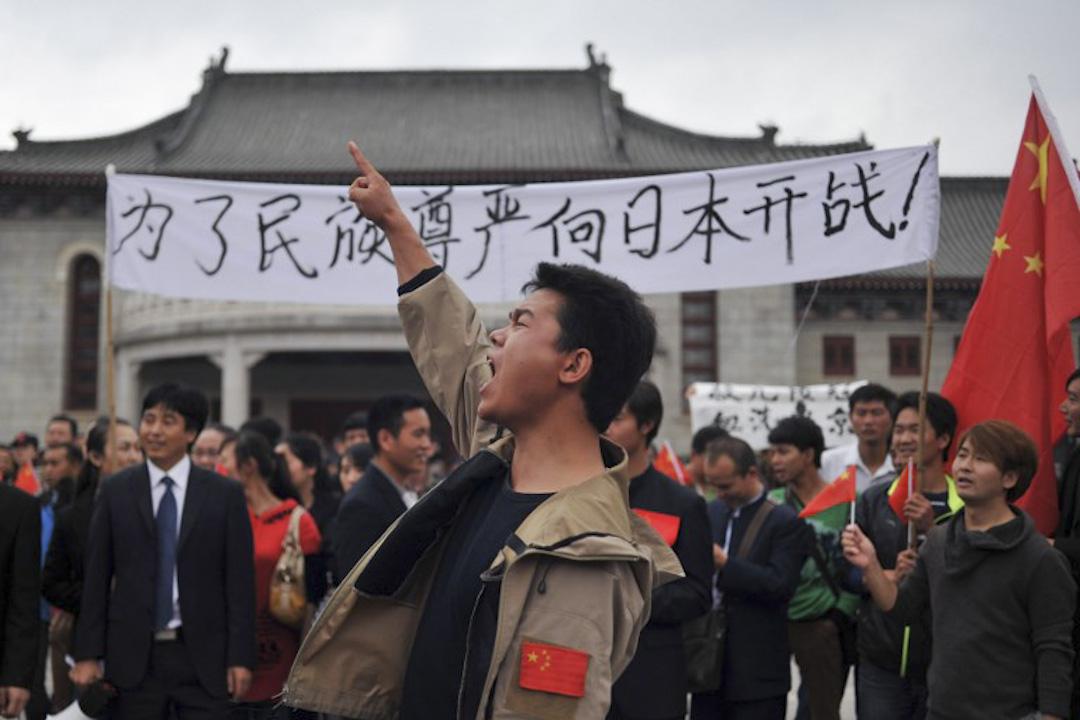 2012年9月18,中國的示威者在雲南昆明發起保衛釣魚島抗議。