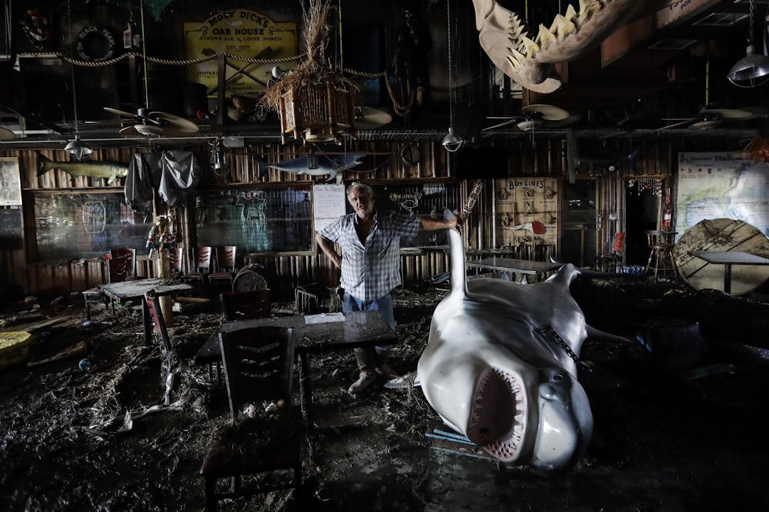 2017年8月30日,美國德州一間餐廳遭颱風哈維吹襲引致滿目瘡痍,老闆Ed Ziegler與一隻倒下的巨型鯊魚雕塑合照。