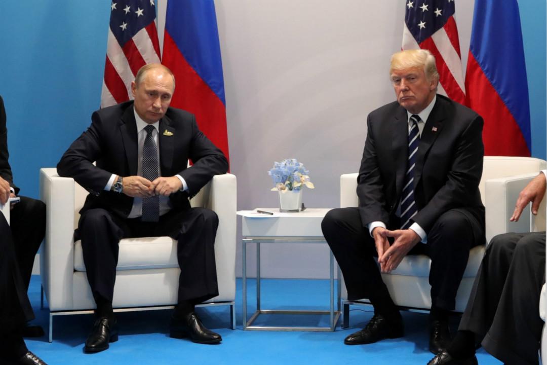 2017年7月7日,俄羅斯總統普京和美國總統特朗普在德國漢堡的 G20 峰會舉行會談。 攝:Mikhail Klimentyev/Getty Images