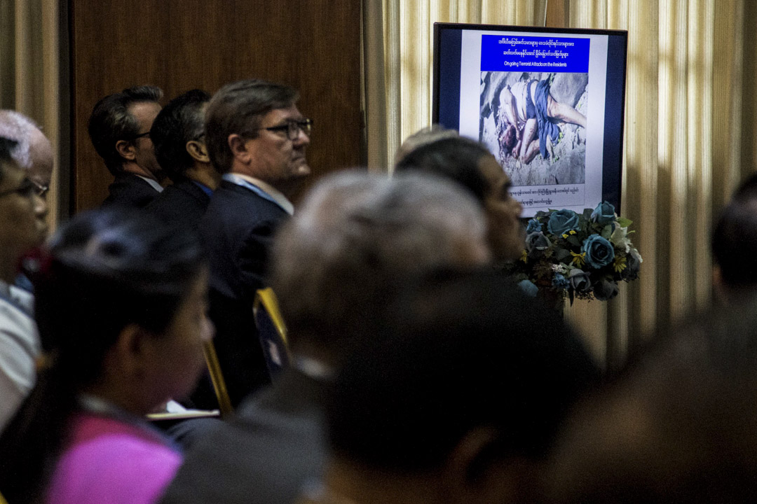 2017年8月,國家安全顧問在仰光舉辦的發布會,會上公開大量的血腥照片,並說明其為arsa所為。