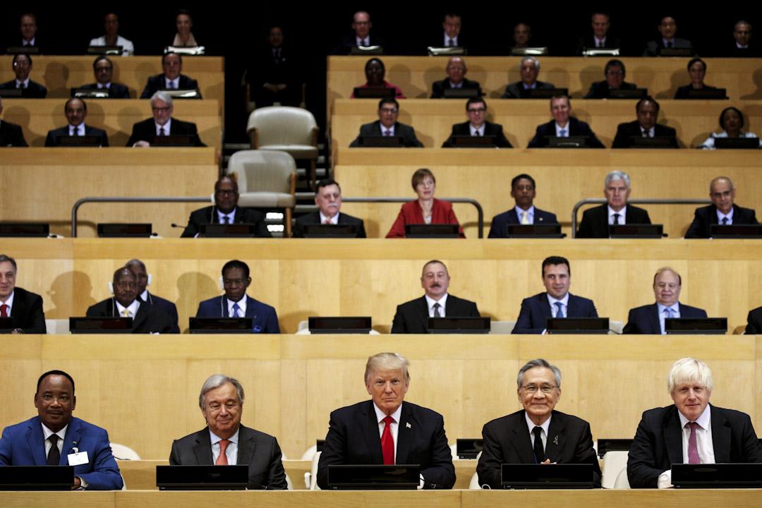 2017年9月18日,美國總統特朗普出席在美國紐約聯合國總部舉行的會議。
