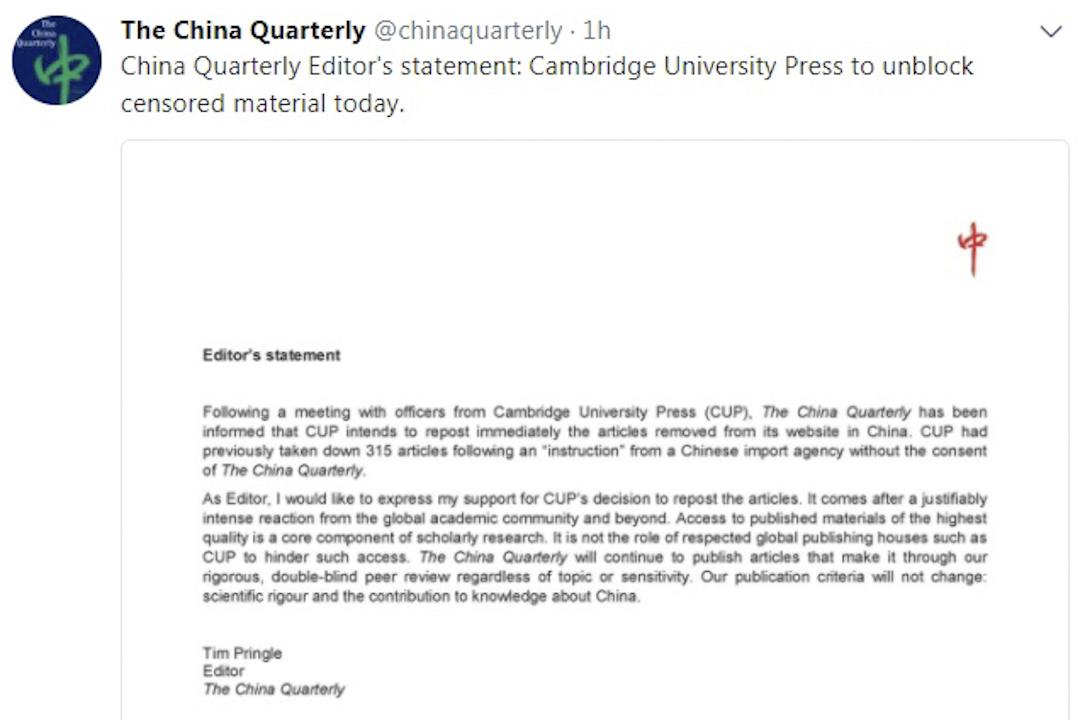 《中國季刊》總編輯Tim Pringle在該刊的Twitter帳戶發表聲明,表示與劍橋出版社決定重新補回315篇文章。