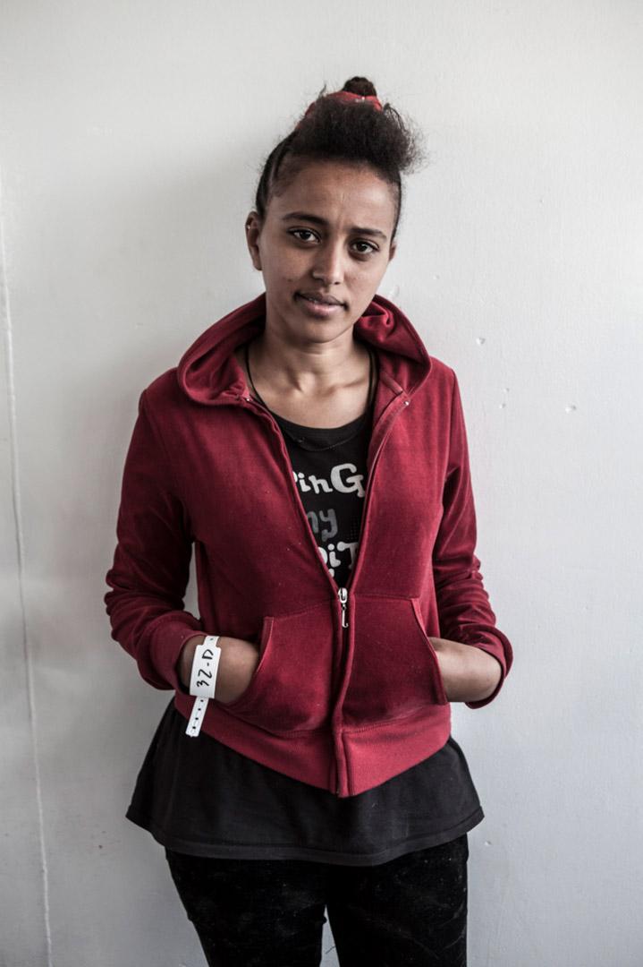 來自厄立特里亞 (Eritrea) 的 Selam Tsfay 從一艘載有369人的木船被救起。