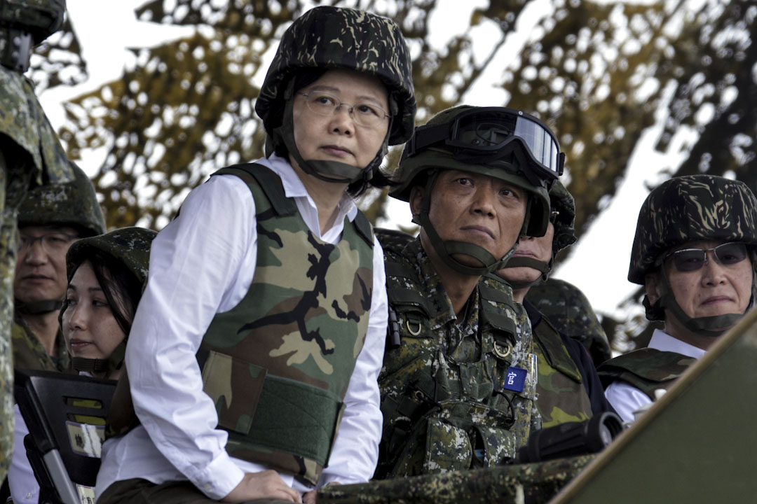 2017年5月25日,台灣總統蔡英文在澎湖主持台灣一年一度最大型的軍演演習。 攝:Sam Yeh /AFP/Getty Images