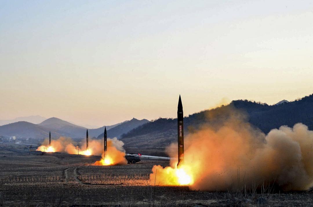 2017年3月7日,北韓通過KNS通訊社發布的一張導彈發射圖片。