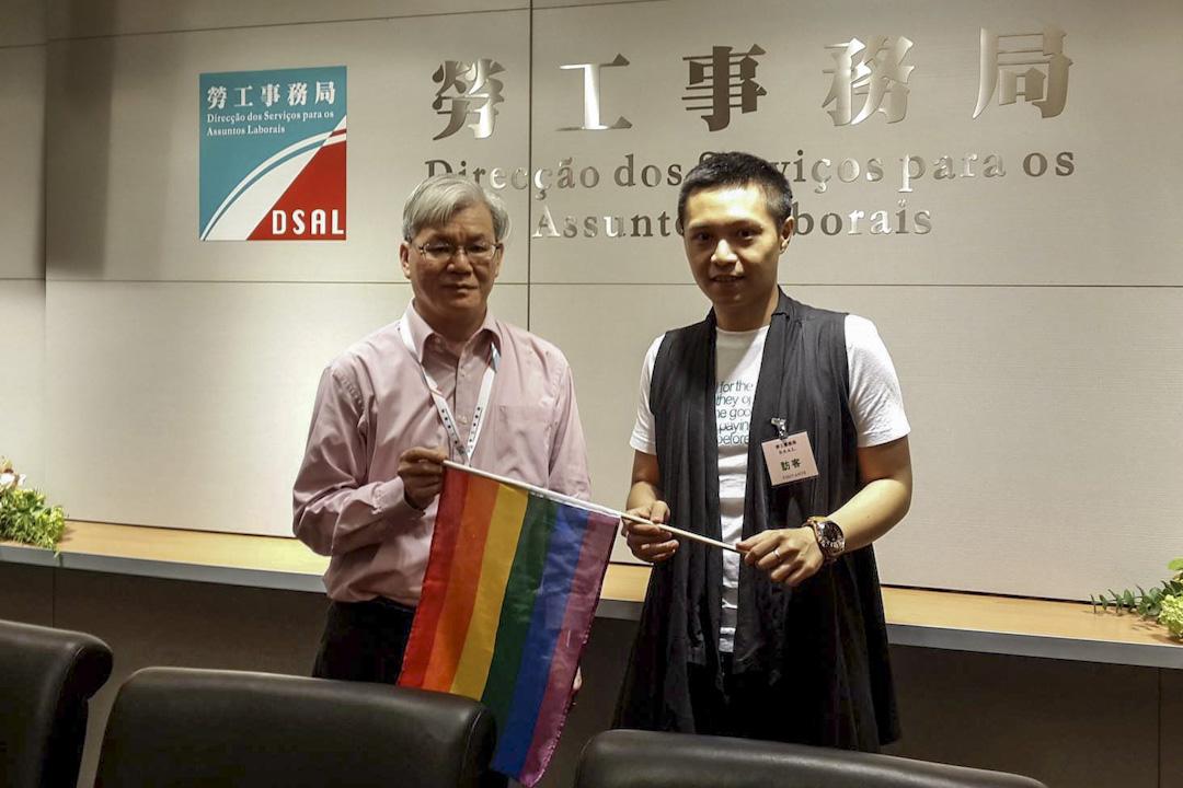 林嘉龍與勞工事務局局長黃志雄會面,探討平等工作間、宣傳性別免受職場歧視等主題。