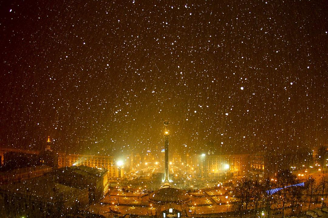 2004年11月30日,烏克蘭「橙色革命」第八天的基輔獨立廣場。 攝:Joe Klamar /AFP/Getty Images
