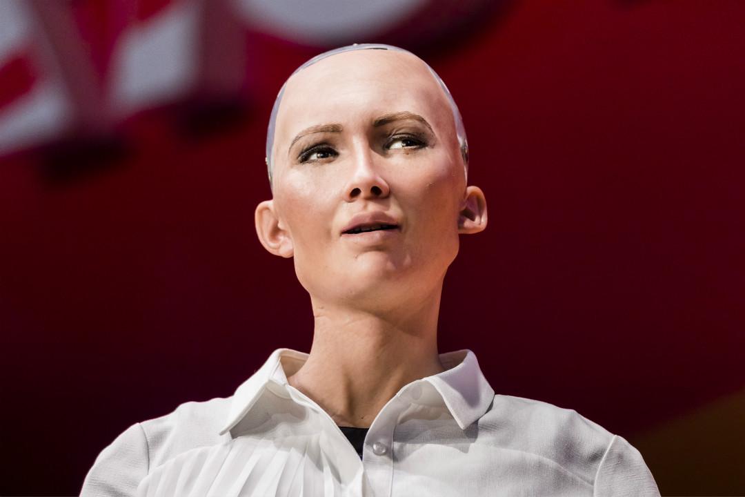 2017年7月12日,香港,漢森機械人公司(Hanson Robotics)製造的 Sophia 機械人在香港會展中心亮相。 攝:Getty Images