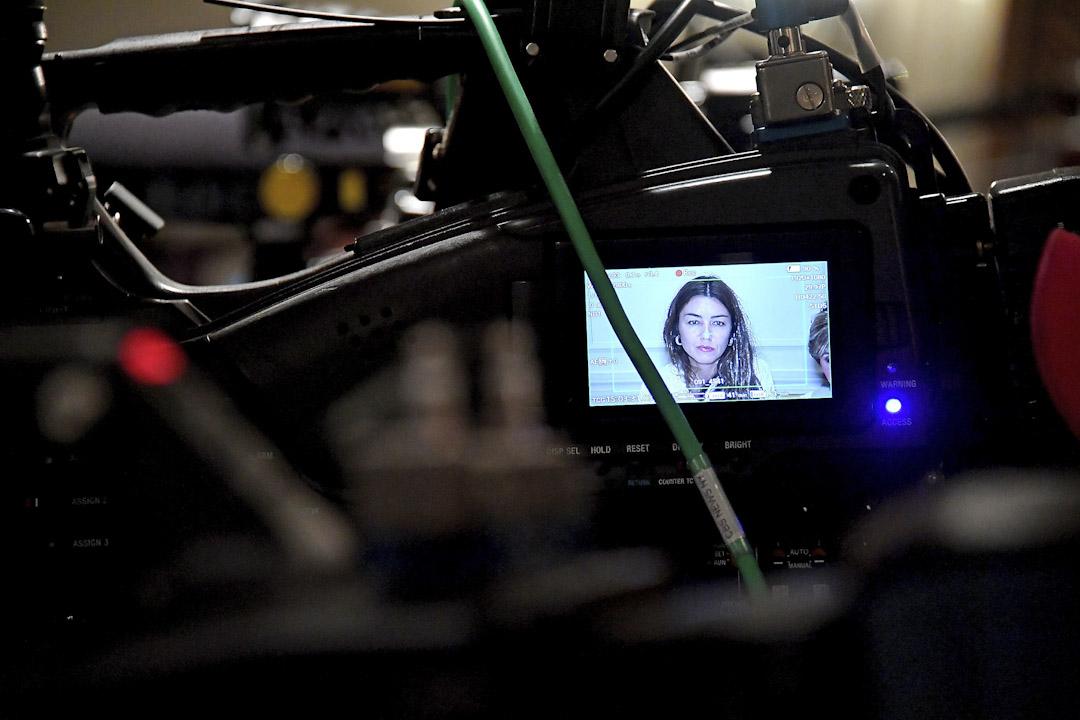 2017年10月24,曾遭Harvey Weinstein性侵害的受害人Mimi Haleyi在紐約召開記者會,講述被害經歷。