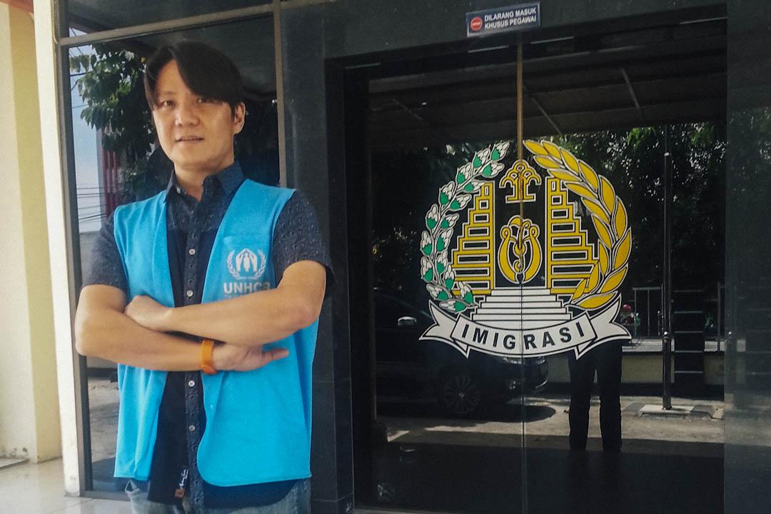 2017年10月,到印尼蘇門答臘北千巴魯(Pekanbaru)與當地移民局了解阿富汗難民的狀況。