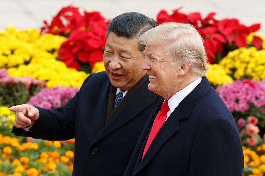 11月9日,國家主席習近平為到訪的美國總統特朗普舉行歡迎儀式。 攝:Thomas Peter-Pool / Getty Images