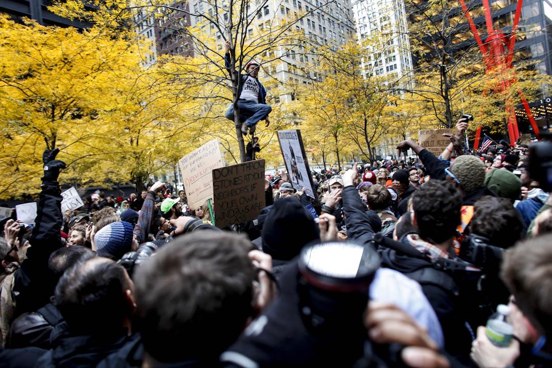 2011年,「佔領華爾街」運動。 攝:Allison Joyce/Getty Images