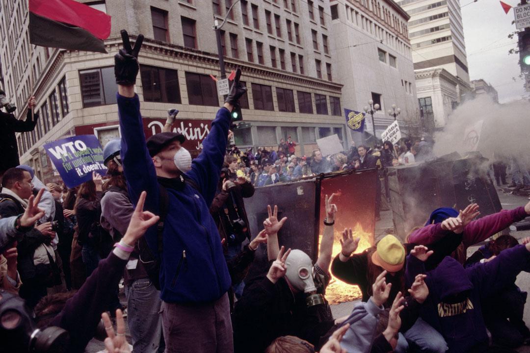 1999年,美國西雅圖WTO會議期間的大規模示威。