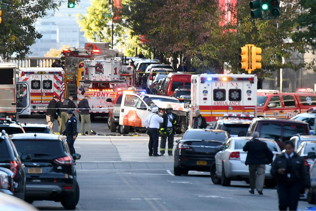 2017年10月31日,紐約曼哈頓發生貨車撞人事件,造成至少8人死亡,被認定為恐怖襲擊。 攝:Don Emmert/Getty Images